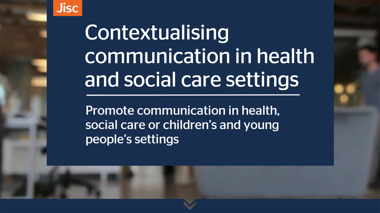 Contextualising communication in health and social care settings activity thumbnail