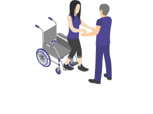Girl being helped out fo a wheelchair graphic
